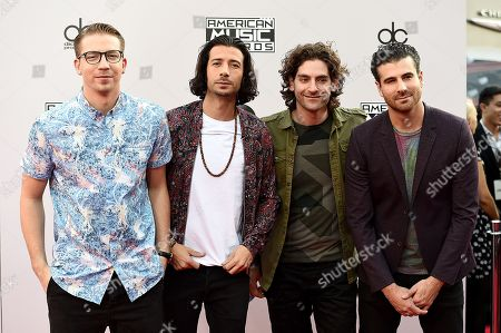 From left Alex Tanas, Nasri, Ben Spivak, and Mark Pellizzer of Magic! arrive at the 42nd annual American Music Awards at Nokia Theatre L.A. Live, in Los Angeles