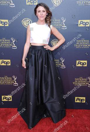 Stock Picture of Elizabeth Hendrickson arrives at the 42nd annual Daytime Emmy Awards at Warner Bros. Studios, in Burbank, Calif