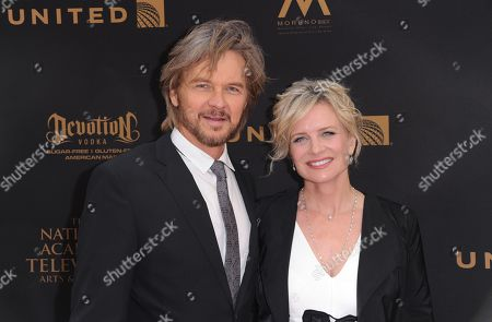 Stephen Nichols, left, and Mary Beth Evans arrive at the 43rd annual Daytime Emmy Awards at the Westin Bonaventure Hotel, in Los Angeles