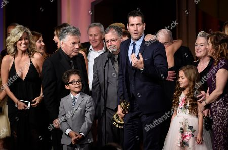 Frank Valentini, center, and the cast and crew of General Hospital accept the award for outstanding drama series at the 43rd annual Daytime Emmy Awards at the Westin Bonaventure Hotel, in Los Angeles