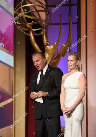 Dr. Andrew Ordon, left, and Dr. Jennifer Ashton present the award for outstanding younger actor at the 43rd annual Daytime Emmy Awards at the Westin Bonaventure Hotel, in Los Angeles