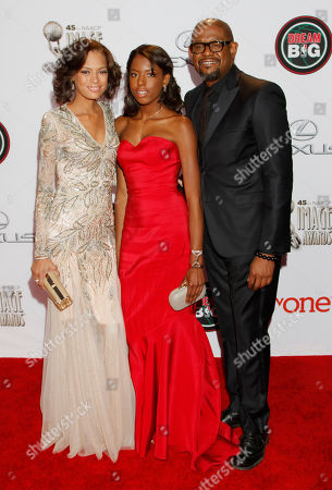 Stock Image of From left, Keisha Whitaker, Sonnet Whitaker, and Forest Whitaker arrive at the 45th NAACP Image Awards at the Pasadena Civic Auditorium, in Pasadena, Calif
