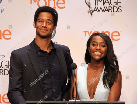 Actors Alfred Enoch, Aja Naomi King seen at 46th NAACP Image Awards Nomination Announcement at The Paley Center for Media, in Beverly Hills, California