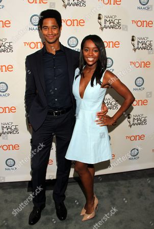 Actors Alfred Enoch, Aja Naomi King seen at 46th NAACP Image Awards Nomination Announcement at The Paley Center for Media, in Beverly Hills, CA