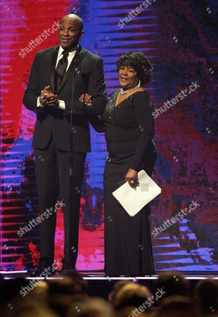 Shirley Ceasar, right, and Donnie McClurkin are seen at the 47th Annual GMA Dove Awards at Lipscomb University, in Nashville, Tenn