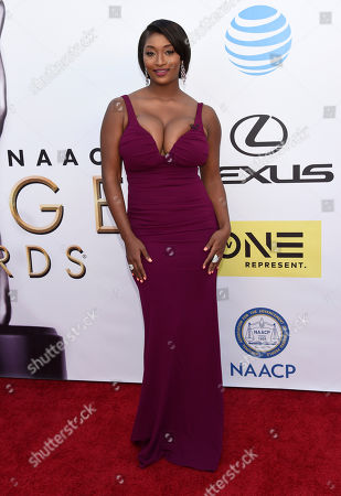 Toccara Jones arrives at the 47th NAACP Image Awards at the Pasadena Civic Auditorium, in Pasadena, Calif