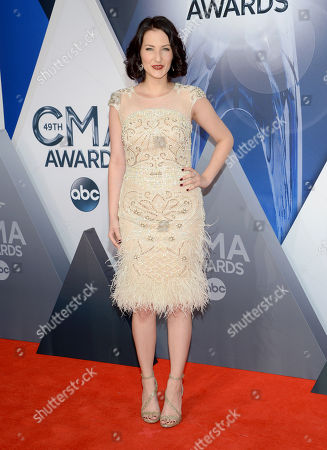 Katie Armiger arrives at the 49th annual CMA Awards at the Bridgestone Arena, in Nashville, Tenn