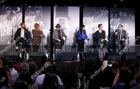 Stock Photo of Singer/songwriter and producer Om'Mas Keith, Tionne 'T-Boz' Watkins of TLC, owner of The Roxy Theatre Nic Adler, VP of digital marketing for Roc Nation Dorothy Hui, founder of SoundCloud Alexander Ljung and editorial director of Billboard and moderator Bill Werde attend the 4th Annual Social Media Rock Stars Summit, on Friday, February, 8, 2013 in Los Angeles
