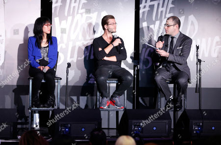 Stock Image of VP of digital marketing for Roc Nation Dorothy Hui, founder of SoundCloud Alexander Ljung and editorial director of Billboard and moderator Bill Werde attend the 4th Annual Social Media Rock Stars Summit, on Friday, February, 8, 2013 in Los Angeles