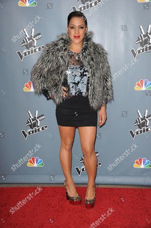 """Stock Image of Jordis Unga arrives at the 4th season premiere screening of """"The Voice"""" at the TCL Theatre on in Los Angeles"""