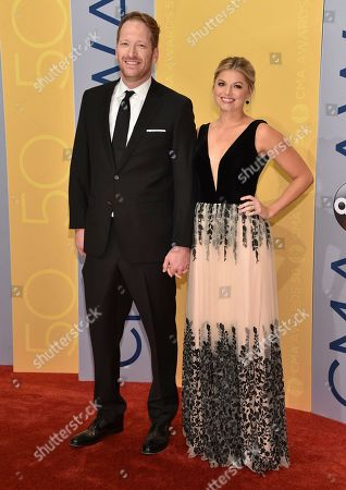 Barrett Baber, left, and Sarah Baber arrive at the 50th annual CMA Awards at the Bridgestone Arena, in Nashville, Tenn