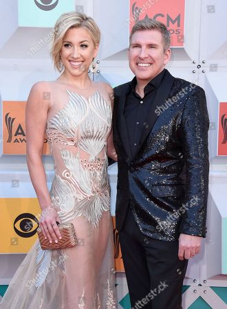 Savannah Chrisley, left, and Todd Chrisley arrive at the 51st annual Academy of Country Music Awards at the MGM Grand Garden Arena, in Las Vegas
