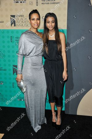 Daphne Wayans, left, and Nala Wayans arrive at the 5th Annual ESSENCE Black Women in Music Event at 1 OAK, in West Hollywood, Calif
