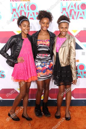 Stock Picture of Singers (L-R) Sydney Schauble, Kennedy Stephens and Shelbi Schauble of Identity4Pop arrive at the 5th Annual TeenNick HALO Awards at the Hollywood Palladium on in Hollywood, Calif