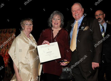 SEPTEMBER 16: (L-R) Kathryn Joosten, Kathy Bates, and Academy Governor Conrad Bachmann attends the 63rd Primetime Emmy Awards Performers Nominee Reception at Spectra by Wolfgang Puck at the Pacific Design Center on in Los Angeles, California