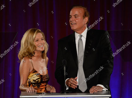 AUGUST 11: Reporters Dorothy Lucey (L) and David Goldstein speak onstage at the Academy of Television Arts & Sciences 64th Los Angeles Area Emmy Awards on in Los Angeles, California