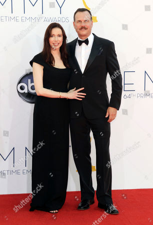 Actor Bill Paxton, right and wife Louise Newbury arrive at the 64th Primetime Emmy Awards at the Nokia Theatre, in Los Angeles