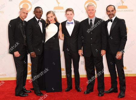 David Marciano, David Harewood, Morgan Saylor, Jackson Pace, Jamey Sheridan and Navid Negahban arrive at the 65th Primetime Emmy Awards at Nokia Theatre, in Los Angeles