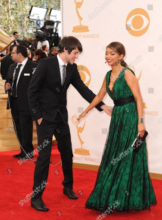 Matt Prokop and Sarah Hyland arrive at the 65th Primetime Emmy Awards at Nokia Theatre, in Los Angeles