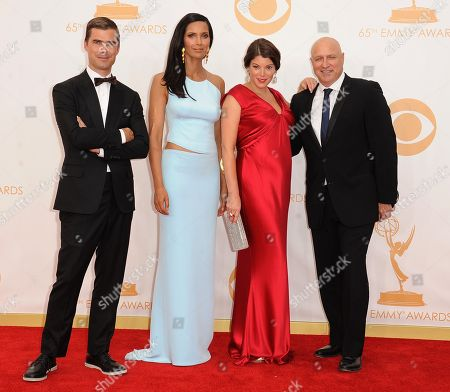 Hugh Acheson, Padma Lakshmi, Gail Simmons and Tom Colicchio arrive at the 65th Primetime Emmy Awards at Nokia Theatre, in Los Angeles