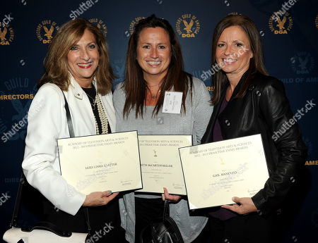 From left, nominees Lesli Linka Glatter, Beth McCarthy-Miller and Gail Mancuso attend the Academy of Television Arts & Sciences Directors Nominee Reception,, at the Directors Guild of America in Los Angeles, Calif