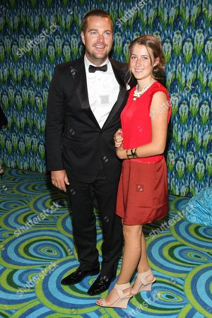Actor Chris O'Donnell and Caroline Fentress arrive at the HBO Primetime Emmy's After Party at The Plaza at the Pacific Design Center on in Los Angeles