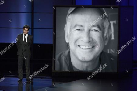 Stock Photo of Michael J. Fox presents a tribute to Gary David Goldberg at the 65th Primetime Emmy Awards at Nokia Theatre, in Los Angeles