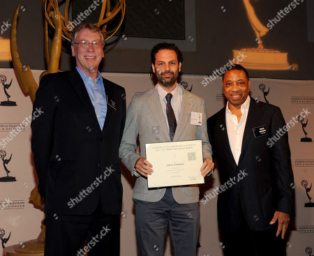 From left, Academy Governor Steve Kent, producer Emile Sherman and Governor Screech Washington attend the Academy of Television Arts & Sciences Producer's Nominee Reception,, at the Montage Beverly Hills in Beverly Hills, Calif