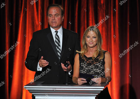 David Goldstein and Dorothy Lucey present on stage at the Television Academy's 66th Los Angeles Area Emmy Awards on at The Leonard H. Goldenson Theater in the NoHo Arts District in Los Angeles