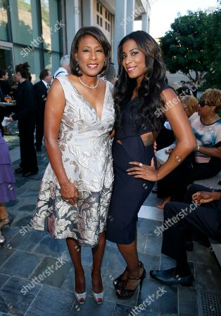 Pat Harvey, Los Angeles Area Governors Award Recipient of CBS2/KCAL9, left, and Michelle Byrd attend the 67th Los Angeles Area Emmy Awards at the Skirball Cultural Center on