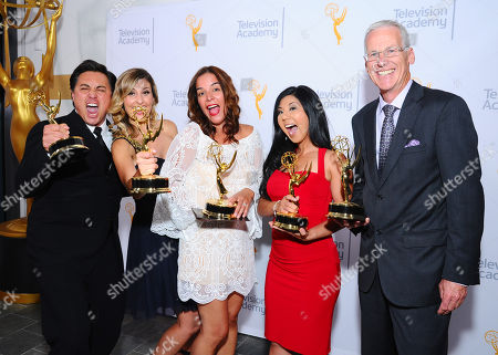 """Stock Photo of Members of NBC4, Tony Shin, Crystal Egger, Marissa Sifuentes, Hetty Chang, and Patrick Healy, winners of the award for education for """"Running Dry: California's Historic Drought"""" pose for a portrait at the 67th Los Angeles Area Emmy Awards at the Skirball Cultural Center on"""
