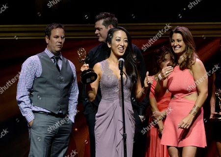 "Nick Simpson, from left, Jason Roberts, Angel Kim, and Madelaine Hahn from KTLA5 accept the award for light news story - single report for ""Ghost Bike"" at the 67th Los Angeles Area Emmy Awards at the Skirball Cultural Center on"