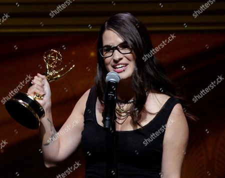 """Cara Santa Maria of KCET accepts the award for feature segment for """"Natural History Museum's Citizen Insect Labeling Project"""" at the 67th Los Angeles Area Emmy Awards at the Skirball Cultural Center on"""