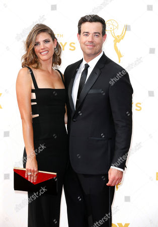 Siri Pinter, left, and Carson Daly arrives at the 67th Primetime Emmy Awards, at the Microsoft Theater in Los Angeles