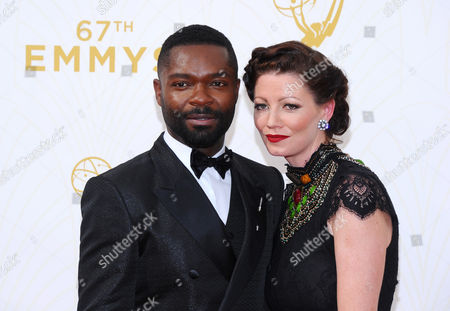 Daniel Oyelowo, left, andJessica Oyelowo arrive at the 67th Primetime Emmy Awards, at the Microsoft Theater in Los Angeles