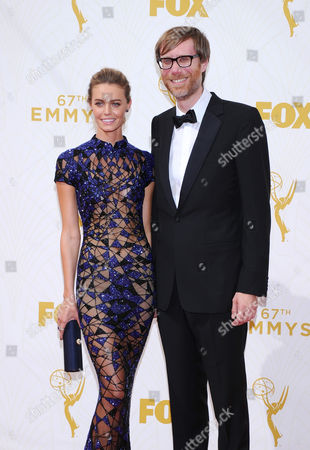 Christine Marzano, left, and Stephen Merchant arrives at the 67th Primetime Emmy Awards, at the Microsoft Theater in Los Angeles