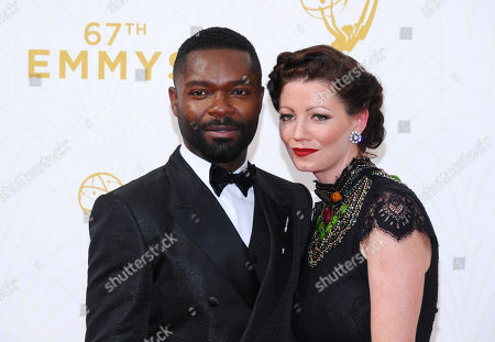 Stock Image of Daniel Oyelowo, left, andJessica Oyelowo arrive at the 67th Primetime Emmy Awards, at the Microsoft Theater in Los Angeles