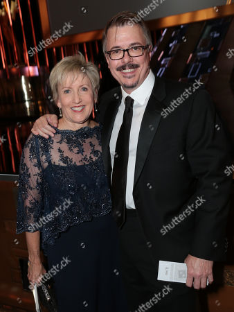 Holly Rice, left, and Vince Gilligan attend the 67th Primetime Emmy Awards, at the Microsoft Theater in Los Angeles