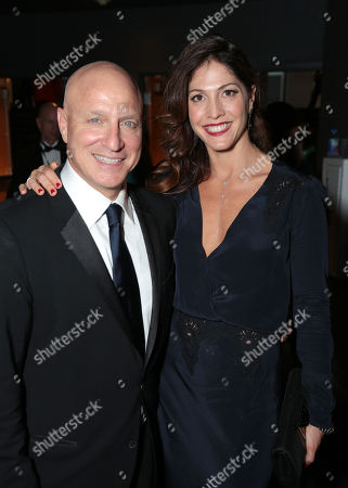 Tom Colicchio, left, and Lori Silverbush attend the 67th Primetime Emmy Awards, at the Microsoft Theater in Los Angeles
