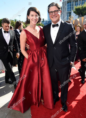 Stock Photo of Rich Sommer, left, and Virginia Donohoe arrive at the 67th Primetime Emmy Awards, at the Microsoft Theater in Los Angeles
