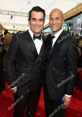 Stock Photo of Ty Burrell, left, and Keegan-Michael Key arrive at the 67th Primetime Emmy Awards, at the Microsoft Theater in Los Angeles