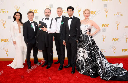 From Left, Nazanin Boniadi, Rupert Friend, Mandy Patinkin, Mark Moses, Raza Jaffrey, and Laila Robins arrive at the 67th Primetime Emmy Awards, at the Microsoft Theater in Los Angeles