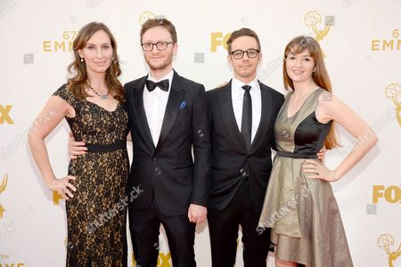 From left, Liz Cackowski, Akiva Schaffer, Jorma Taccone and Marielle Heller arrive at the 67th Primetime Emmy Awards, at the Microsoft Theater in Los Angeles