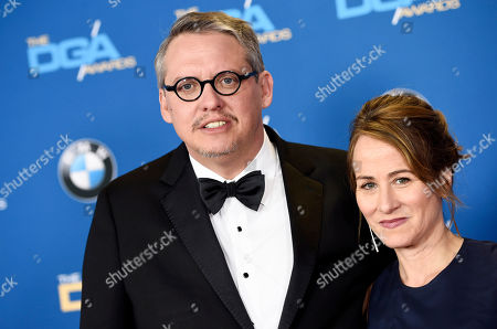 "Director Adam McKay, a feature film award nominee for ""The Big Short,"" and his wife Shira Piven pose together at the 68th Directors Guild of America Awards at the Hyatt Regency Century Plaza on in Los Angeles"