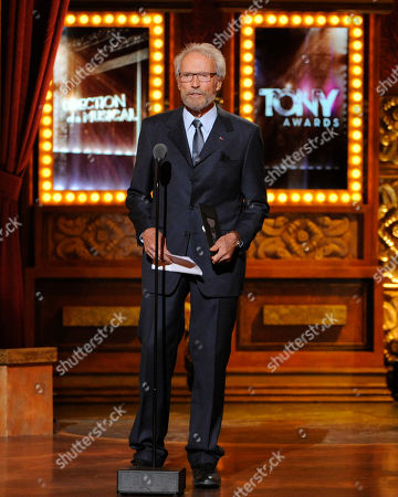 "Clint Eastwood presents Darko Tresnjak with the award for best direction of a musical for ?""A Gentleman's Guide to Love & Murder?"" on stage at the 68th annual Tony Awards at Radio City Music Hall, in New York"