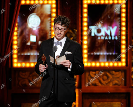"""Beowulf Boritt accepts the award for best scenic design of a play for """"Act One"""" on stage at the 68th annual Tony Awards at Radio City Music Hall, in New York"""