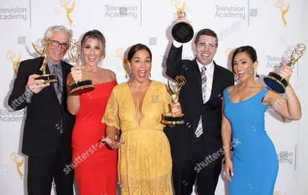 Fritz Coleman, from left, Crystal Egger, Marissa Slattery, David Biggar and Shanna Mendiola, winners of the Education Emmy for 'El Nino: Currents of Change' pose for a portrait at the L.A. Area Emmy Awards presented at the Television Academy's new Saban Media Center, in the NoHo Arts District in Los Angeles