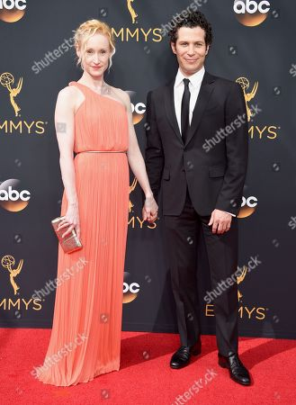 Angela Christian, left, and Thomas Kail arrives at the 68th Primetime Emmy Awards, at the Microsoft Theater in Los Angeles