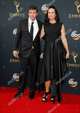 Kyle Chandler, left, and Kathryn Chandler arrive at the 68th Primetime Emmy Awards, at the Microsoft Theater in Los Angeles