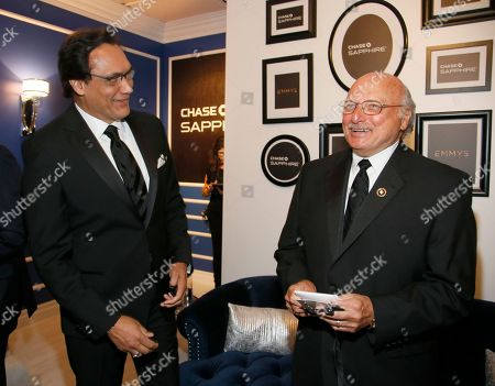 Dennis Franz, right, and Jimmy Smits pose backstage at the 68th Primetime Emmy Awards in the Chase Sapphire Reserve Blue Room, at the Microsoft Theater in Los Angeles